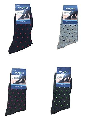 Yanoir 4Pares Calcetines Calcetines Cortos (Meta 'Gemelo) Hombre Algodón Textura Fina y Ligera Tipo Hilo de Escocia diseño Lunares, Fantasia A Pois