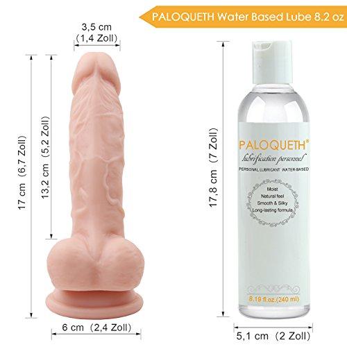 Realistischer Dildo für Frauen mit Starke Saugnapf, Paloqueth Weichen Silikon Dildo für Anal Anfänger Geeignet, Kostenlosem Gleitgel, 6.7 Inch - 6