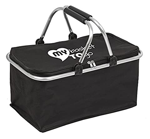 Collapsible shopping carry-bag   comfortable handles a high-quality water-resistant material   MY BASKET TO GO   large, rugged, light-weight, closable with zip, foldable, reinforced   BLACK