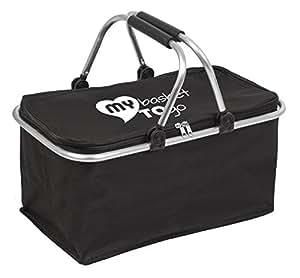 Cesta per spesa, camping o pic-nic, borsa pieghevole MY BASKET TO GO, shopper stabile, leggero, tessuto idrorepellente e resistente con maniglie rinforzate e coperchio richiudibile, colore NERO
