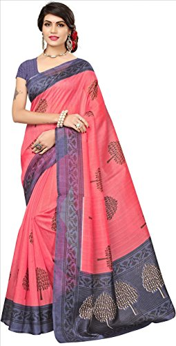 Fabwomen Women\'s Cotton Silk Saree with Blouse Piece, Free Size (Pink)
