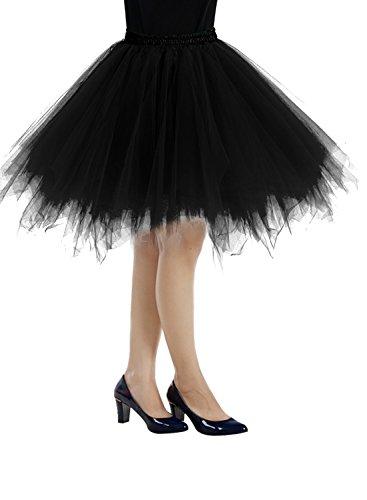 Bbonlinedress Kurz Retro Petticoat Rock Ballett Blase 50er Tutu Unterrock Black M -