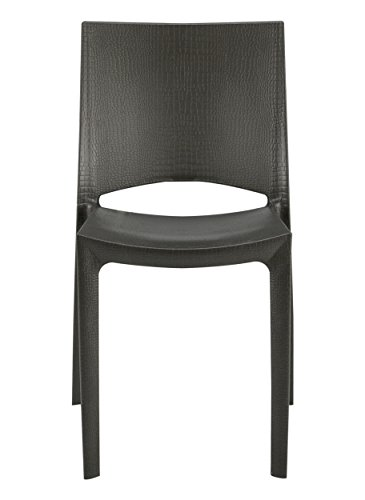 Grandsoleil Upon Cocco Chaise empilable, Polypropylène, Anthracite, 49 x 48 x 80.5 cm