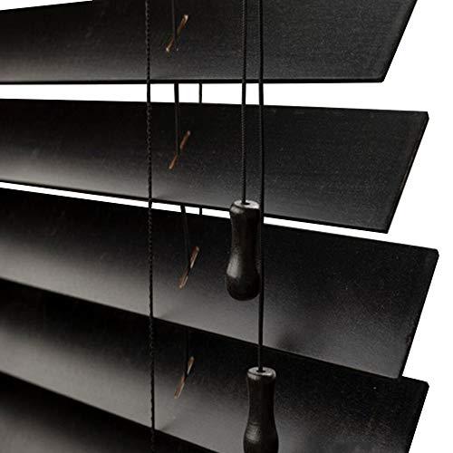 WENZHE Estores De Bambú Venecianas Persianas Estor Enrollable Madera Maciza Negro Regulable Levantable Quitasol Casa Oficina, Tamaño Personalizable (Color : 25mm, Tamaño : 50x100cm)