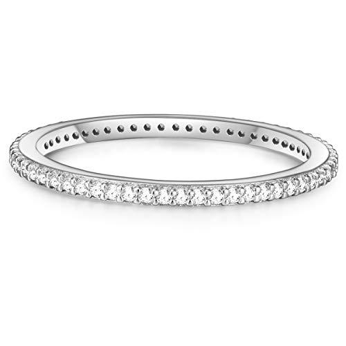 Glanzstücke München Damen-Ring Sterling Silber Zirkonia weiß - Memory Ring Stapel-Ring filigran, Silber Gr. 48 (15.3)