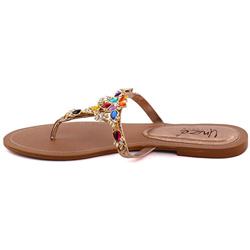 Unze Le nuove donne SPLENDID pietra preziosa in rilievo casuale Sera Summer Party Slip On Toe Open-piatto Slipper Uk Size 3-8 Multi
