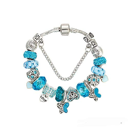XLSQW Kristall Perlen Armband Wilder Schmetterling Kristall DIY Handarbeit Perlen Blau Schutz Armband, 21cm -