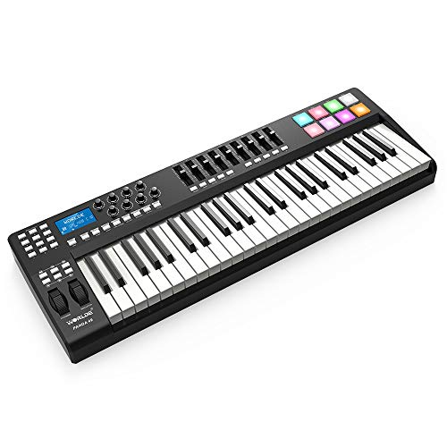 Muslady USB MIDI Keyboard Controller 49-Taste Tragbar 8 RGB Bunt Gegenlicht Abzugspads mit USB-Kabel WORLDE PANDA49
