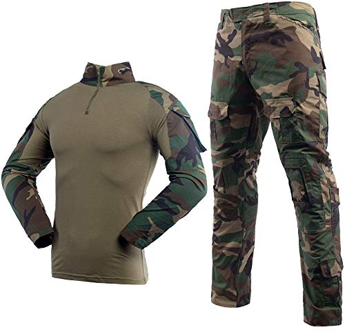 LANBAOSI Taktischer Anzug BDU Kampfshirt Hose für Herren Langarm Ripstop Multicam Militär Uniform Set Airsoft Woodland Jagd Gr. Large, Jungle Camo -