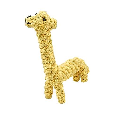 Hunde-Kauspielzeug, pyhot Pet Seil Spielzeug für kleine Hunde, Welpen, Katzen, Kaninchen, 18,5cm gelb Giraffe Form