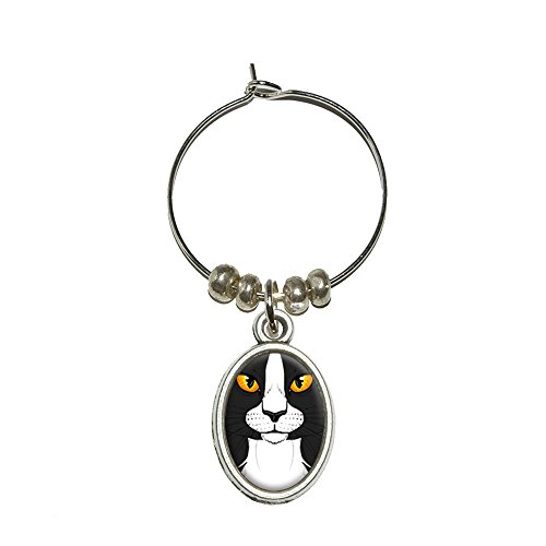 Schwarz Weiß Cat Face – Pet Kitty Wein Glas Oval Charm Drink Marker (Wein Charms Glas Cat)