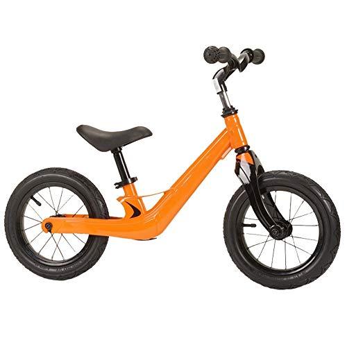 YJFENG Kinder Laufrad Lauflernhilfe Rahmen Aus Magnesiumlegierung Stahldraht Sprach Luftreifen Pedal Ausruhen Sicher,4 Farben (Color : Orange, Size : 85x50cm)
