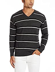 People Mens Synthetic Sweater (8903880729240_P10101188014382_Large_Anthra, Black and White)