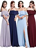 Ever Pretty Damen Elegant Off-Shoulder Abendkleid, 44 Größe - Blau