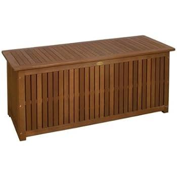 Massive Auflagenbox PLANO Holz mit Innentasche Eukalyptus Kissenbox Gartenbox Aufbewahrung NEU