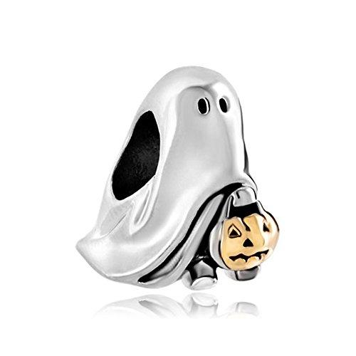 uniqueen Verkauf billige Halloween-Kürbislaterne Weird Halloween Ghost Pumpkin Charm für Pandora Armband Geschenke