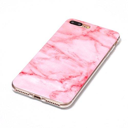 "Coque pour Apple iPhone 7 Plus , IJIA Texture Marbre Rose TPU Doux Silicone Bumper Case Cover Shell Poids Léger Housse Anti Rayure Anti Choc Etui pour Apple iPhone 7 Plus (5.5"") (YH75) YH75"
