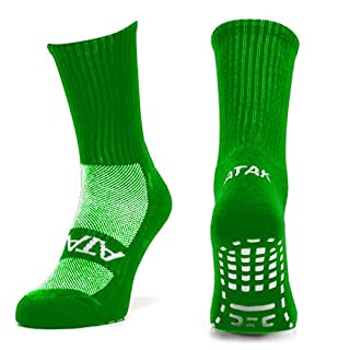 Atak Men's Grip Mid Leg Socks, Plain Green, 9-12
