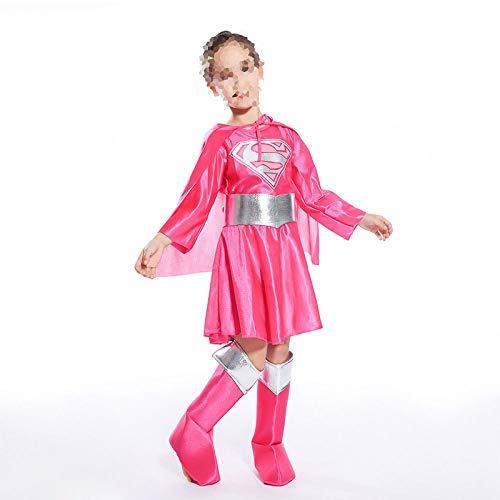 lloween para Niños Ropa De Rendimiento Cosplay Superwoman Anime Héroe Juego De Rol,Pink-M ()
