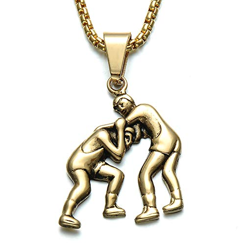 OOFAY Halskette Duo Kampf Edelstahl Silber Wrestling Titan Steel Pendant Gold Men Es (Kette + Pendant) Kombination 2 Möglichkeiten Zu Tragen,Gold