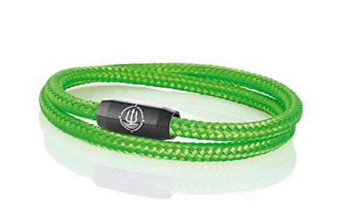 Maritimes Seemannsgarn Segeltau Armband Norderney neon-grün 4mm, Fähnrich (schwarz), XL - Gelenkumfang von 18 cm bis 21 cm