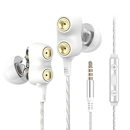 Langsdom D2 Auriculares In-Ear Doble Controlador Dinámico con Extra Bass, Control de Volumen y Jack 3.5mm para Dispositivos Apple, Samsung, Sony, Huawei, ZTE, etc (Blanco)