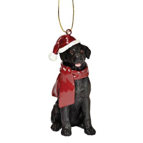 Design Toscano Schwarzer Labrador Retriever Hund Weihnachtsbaumornament Weihnachtsdekoration, Polyresin, Vollfarbe, 8 cm -