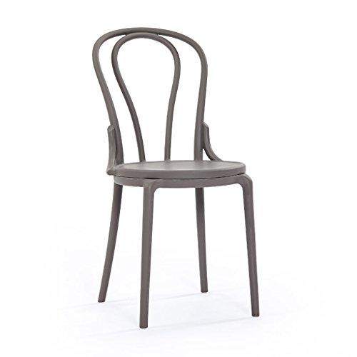 PLL Modernes Einfaches Kreatives speisendes Stuhl-Ausgangs-Mode-Café-Rückenlehnen-Plastik-Erwachsener Stuhl (Color : Gray)