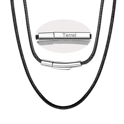 FOCALOOK 55CM Halskette personalisiert Kunstleder Collier Wachsschnur Kette 2mm breit Schwarz Geflochten Lederkette Name Gravur Lederband mit Edelstahl Verschluss für Männer Frauen Jungen Mädchen