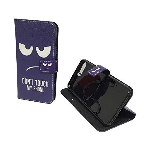 König-Shop - Handyhülle Schutz Tasche Case Cover Wallet Kunstleder 360 Grad Standfunktion, Farbe:Marshmallows, Größe:Apple iPhone 7 Plus Don't touch my Phone Blau