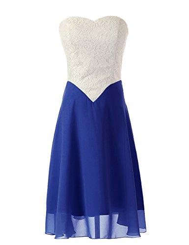 Dressystar Robe de bal/de soirée en Mousseline,Dentelle Bleu Saphir