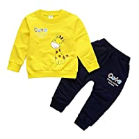 BOBORA Baby Boy Tracksuit Children Long Sleeve Cute Giraffe Sweatshirt Top with Sports Trousers Pants Outfits