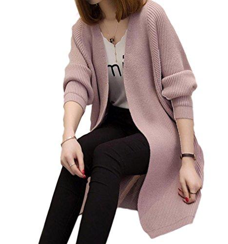 Femmes Mi-Longue Manche Longue Tricot Chandail Cardigans Pull Sweaters Bonnetterie Coat Veste Violet clair
