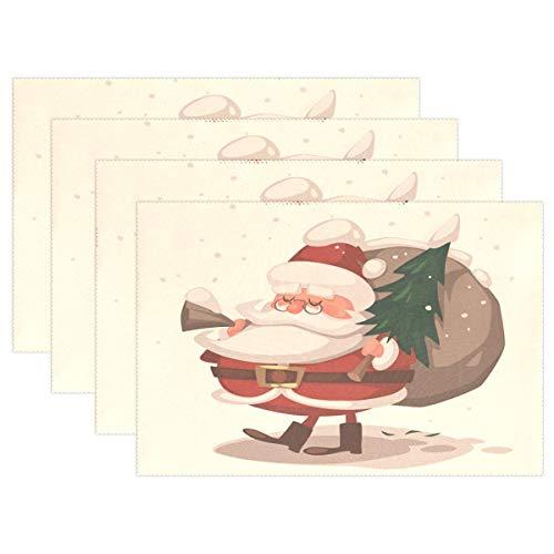 Promini Hitzebeständige Platzdeckchen, Weihnachtsmann mit Weihnachtsbaum, waschbar, Polyester, Rutschfest, waschbar, Platzsets für Küche und Esszimmer, 4 Stück