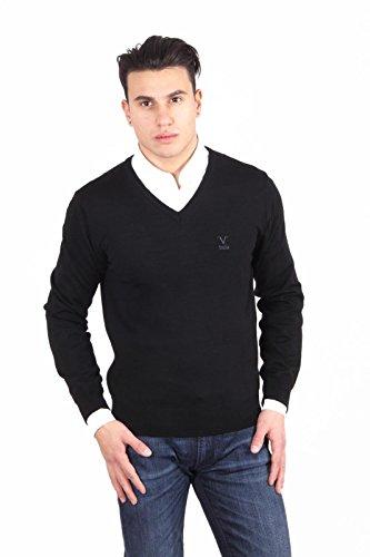 Versace 19.69 Abbigliamento Sportivo Srl Milano Italia Versace 19.69 Abbigliamento Sportivo Milano mens V neck sweater 9801 SCOLLO V NERO NERO Noir