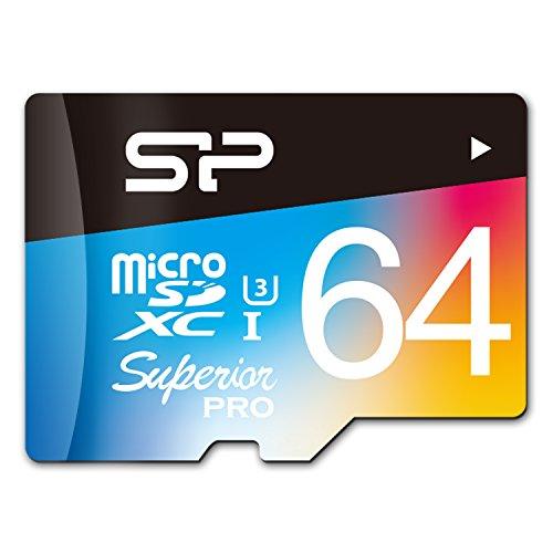 SP/Silicon Power 64GB Superior Pro microSDHC UHS-1 Class 10 Memory Card, Read/write bis zu 90/80 MB/s für High-Speed-Serienaufnahmen und 4k-Videoaufzeichnung (U3), mit SD Adapter