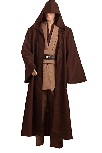 Fuman Star Wars Kenobi Jedi TUNIC Cosplay Costume Braun Version M (Baumwoll-leinen-robe)