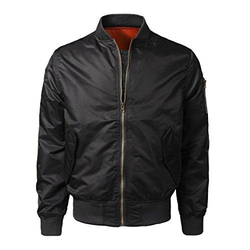 URSING Männer Herbst Winter Slim Fit Bomberjacke Zipper Outwear Beiläufig Windbrecher Baseballjacke mit Gute Qualität Klassisch Grundstil...