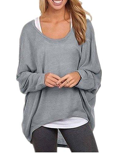 Minetom Damen Lose Asymmetrisch Jumper Sweatshirt Pullover Sheer Bluse Oberteile Oversize Tops 40 Grau (Sheer V-neck Tunika)