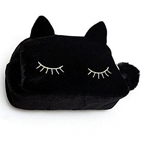 Hosaire 1x Kosmetika Aufbewahrungstasche Students Federmäppchen Kreative Tier Katze Form Flanell Stifte Tasche Mäppchen Pencil Case Mode Damen Make up Tasche (Schwarze Tasche Make-up)