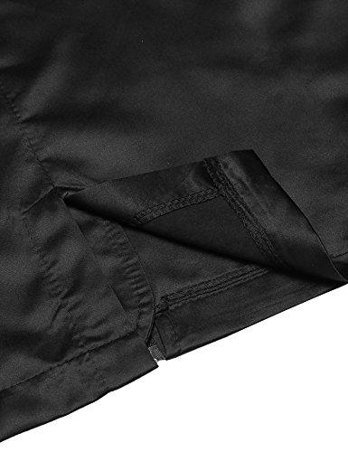 Finejo Damen Regenjacke Regenmantel Übergangsjacke Wasser Winddicht Stehtkragen Jacke Winterjacke Mantel mit Reißverschluss Schwarz
