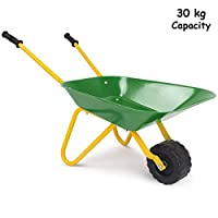 GYMAX Kids Metal Wheelbarrow, Soil Garden Trolley Outdoor, Brick Toy for Children, Toddlers, Boys and Girls