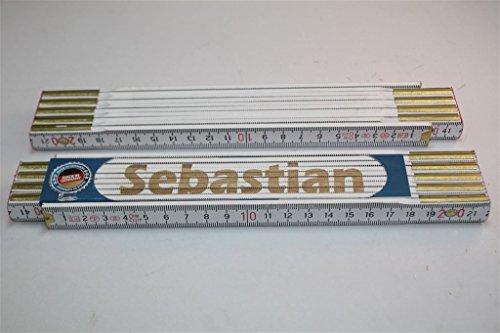 Preisvergleich Produktbild Zollstock mit Namen SEBASTIAN Lasergravur Handwerkerqualität