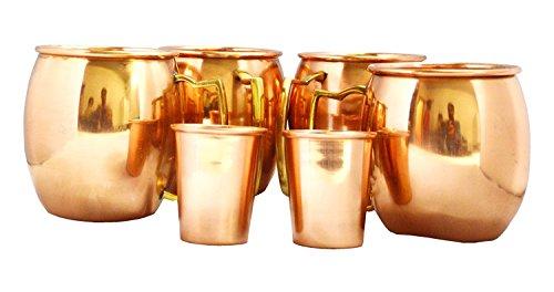 Zap Impex ® Reines Kupfer Moscow Mule Tasse, keine Beschichtung, reines Kupfer, ideal für alle gekühlten Getränk blendend zu unterhalten & Bar oder zu Hause, große Bar Geschenk-Set von 4 mit 2 Schussglas (Jamaika-geschenk-set)