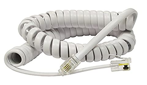 rhinocables RJ10 Curly Spring Coiled Spiral Telephone Handset Cable Wire Lead RJ10 Cord (2m, White)