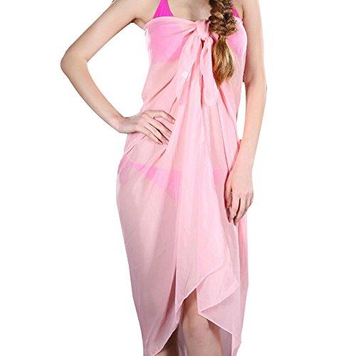 Highdas Damen Chiffon Beachtuch Sarong Pareo Wickelrock Strandkleid Bikinirock Strandkleider Größe 100cm x 150cm Rosa