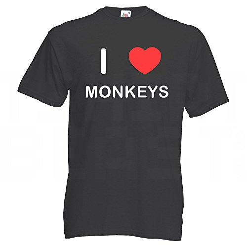 I Love Monkeys - T-Shirt Schwarz