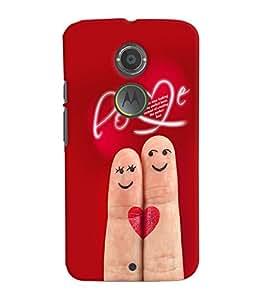 Fuson Premium Love Couple Printed Hard Plastic Back Case Cover for Motorola Moto X (2nd Gen)