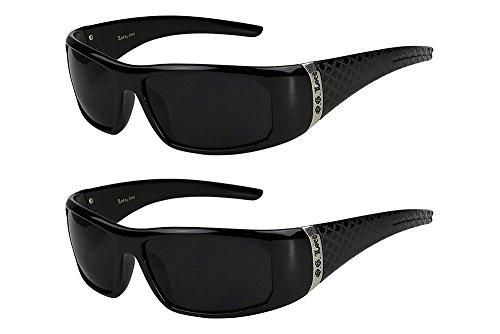 2er Pack Locs 9006 X11 Sonnenbrillen Herren Damen Männer Brille - 1x Modell 07 (schwarz glänzend - Square-Design / schwarz getönt) und 1x Modell 07 (schwarz glänzend - Square-Design / schwarz getönt)