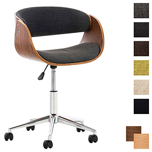 CLP Bürostuhl Portmore mit Stoffbezug | Höhenverstellbarer Schreibtischstuhl mit gepolsterter Sitzfläche | Drehstuhl mit Leichtlaufrollen Dunkelgrau, walnuss